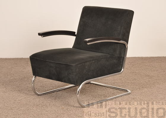 2x thonet sessel s411 alcantara schwarz ebay. Black Bedroom Furniture Sets. Home Design Ideas
