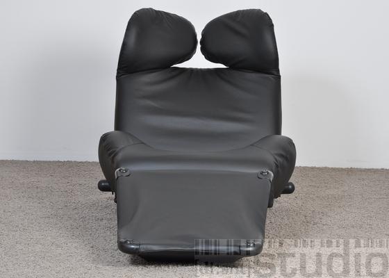 cassina sessel wink toshiyuki kita leder schwarz ebay. Black Bedroom Furniture Sets. Home Design Ideas