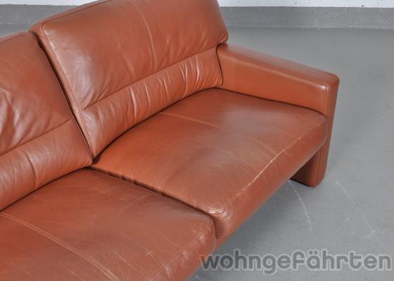 wk wohnen 2 sitzer sofa leder rostbraun ebay. Black Bedroom Furniture Sets. Home Design Ideas